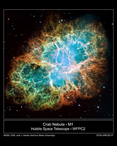 Crab Nebula via Hubble Space Telescope